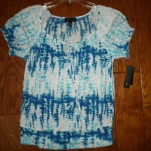 AB Studio Women XS Tie Dye Blouse Peasant Top NEW